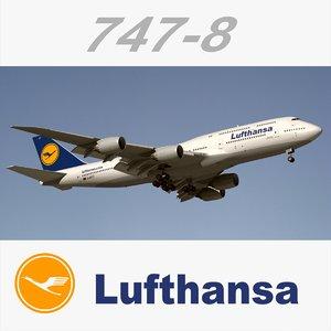 boeing 747-8 lufthansa obj
