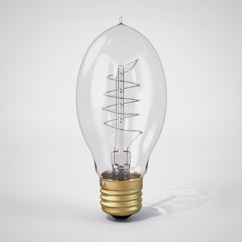 3d vintage elliptic-shaped edison light bulb model