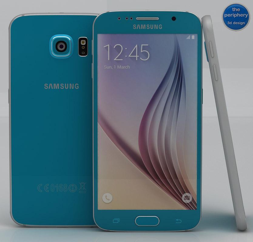 3d samsung galaxy s6 blue model
