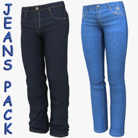 pack woman man jeans cloth 3d model
