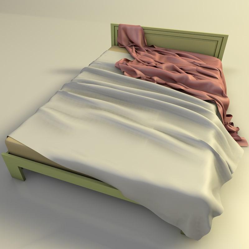 messy bed obj