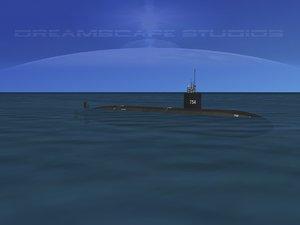 3d model ship los angeles class submarine