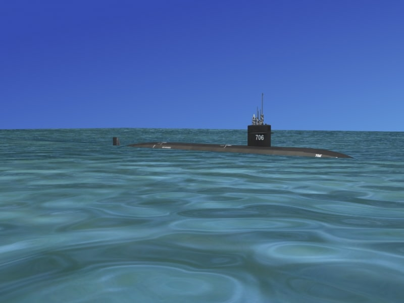 3d model of ship los angeles class submarine