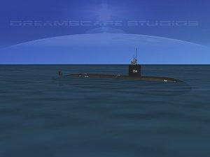 3d max ship los angeles class submarine