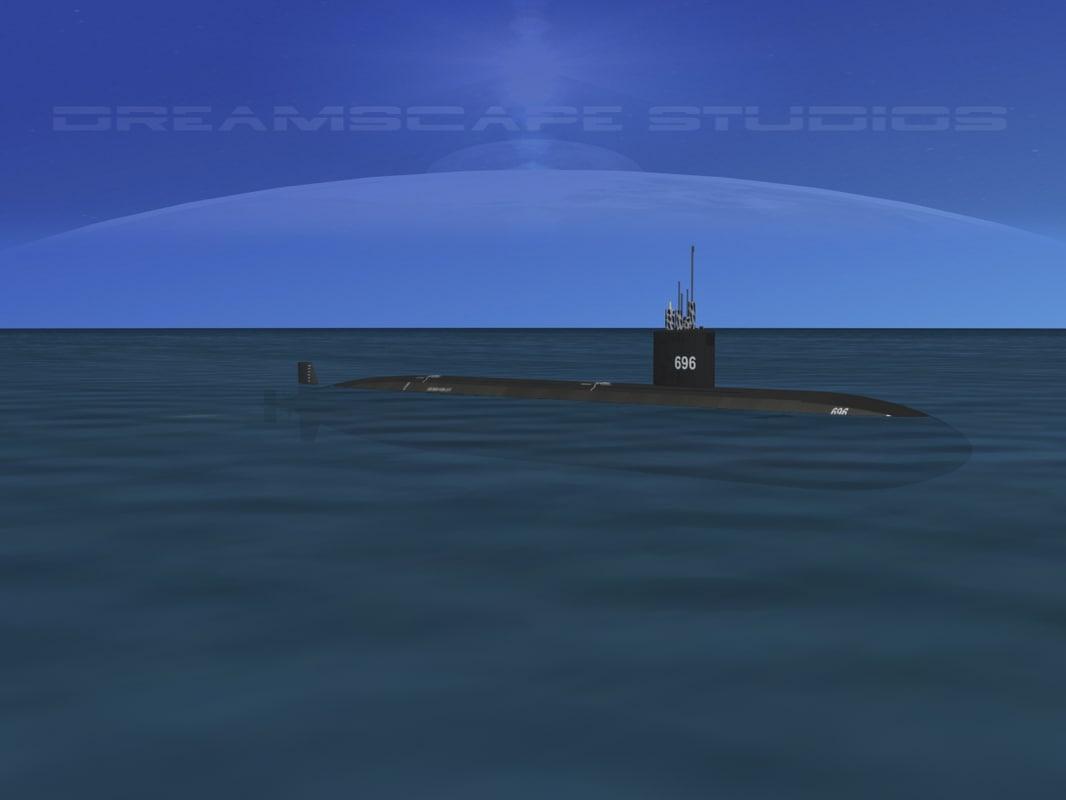 ship los angeles class submarine 3d model