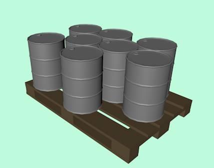 c4d wooden pallet barrel