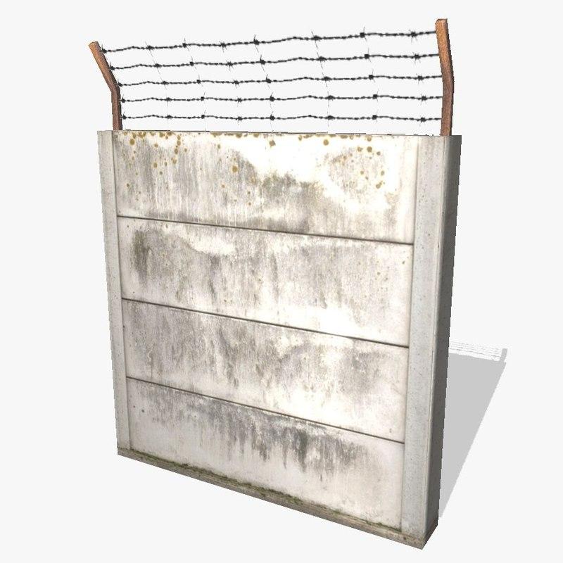 ready concrete fence 3d obj