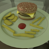 3d burger chips fries model