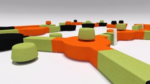 3d mir hub units seating model