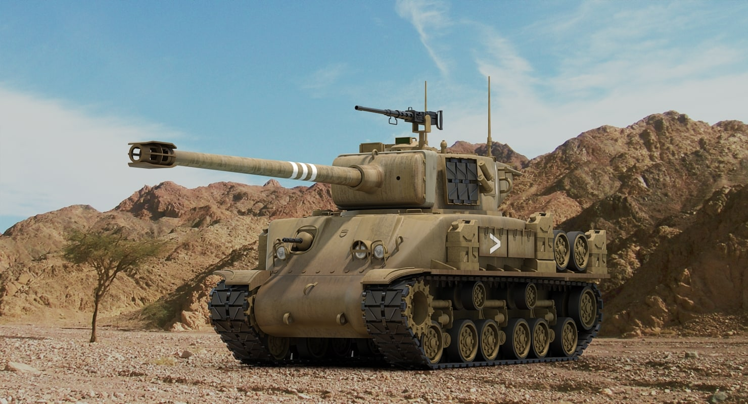 idf m51 super sherman tank 3d model