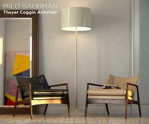 vintage armchair milo baughman 3d obj