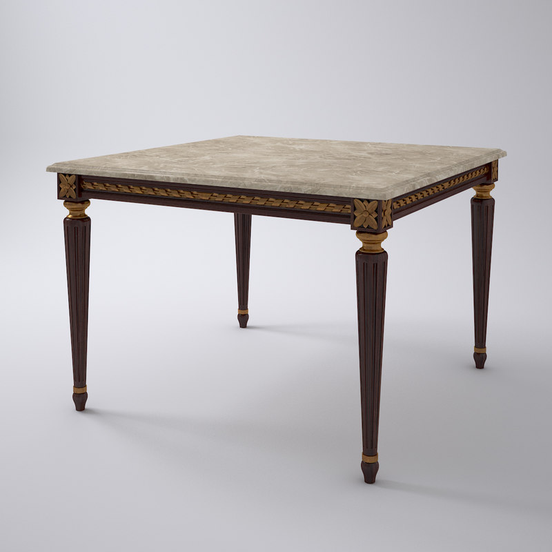 french louis xvi dining table 3d model