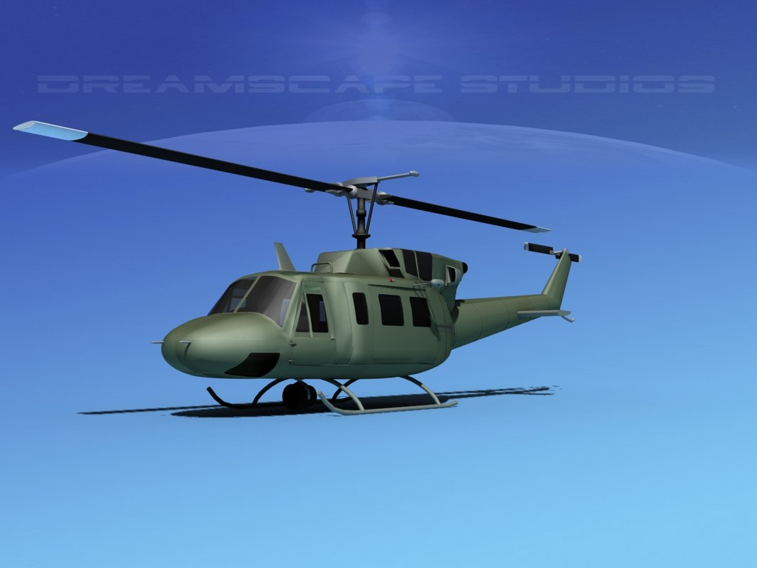 3ds max uh1-n bell uh-1n helicopter