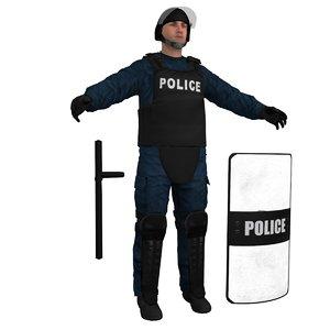 3d riot police officer
