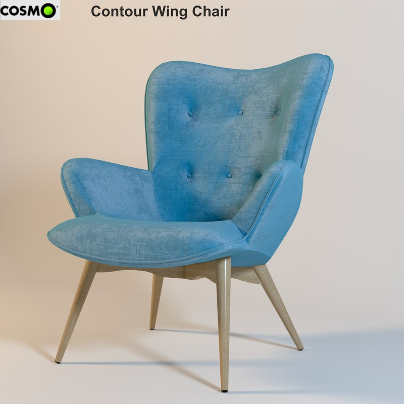 3ds max contour wing chair