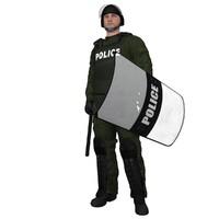 3d model rigged riot police officer
