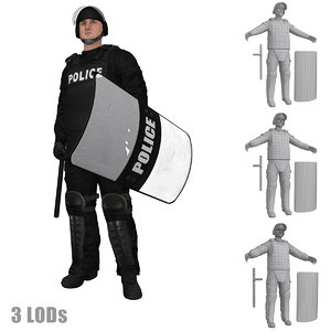 3d max rigged riot police officer