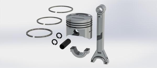 3d piston rod parts