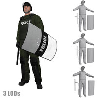 3d model rigged riot police officer