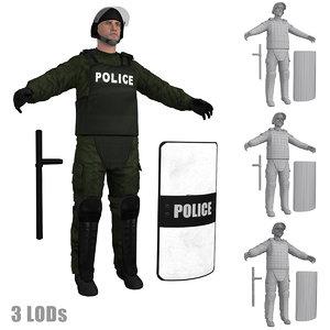 riot police officer 3 3d model