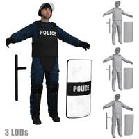 3d riot police officer s model