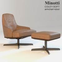 minotti coley-soft armchair stool obj