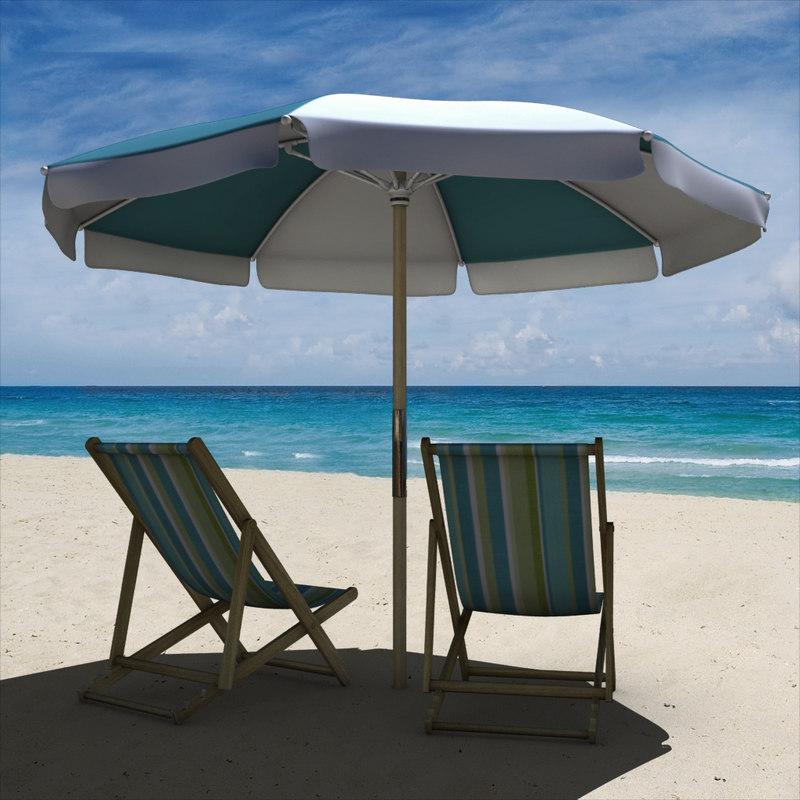 3d model beach chair umbrella