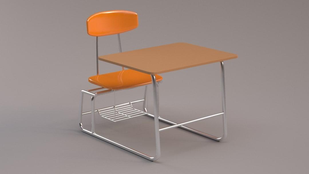 3d student desk model