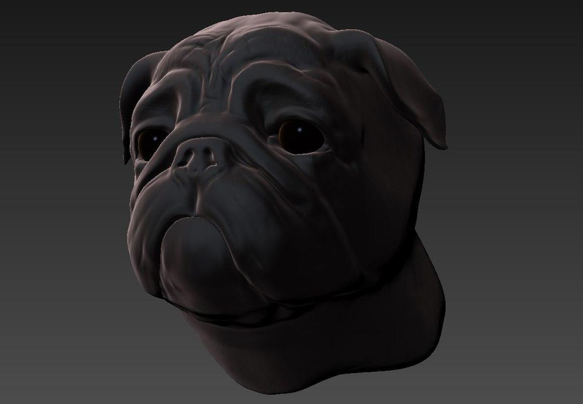 3d bust pug model