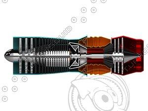 3d model gas turbine engine