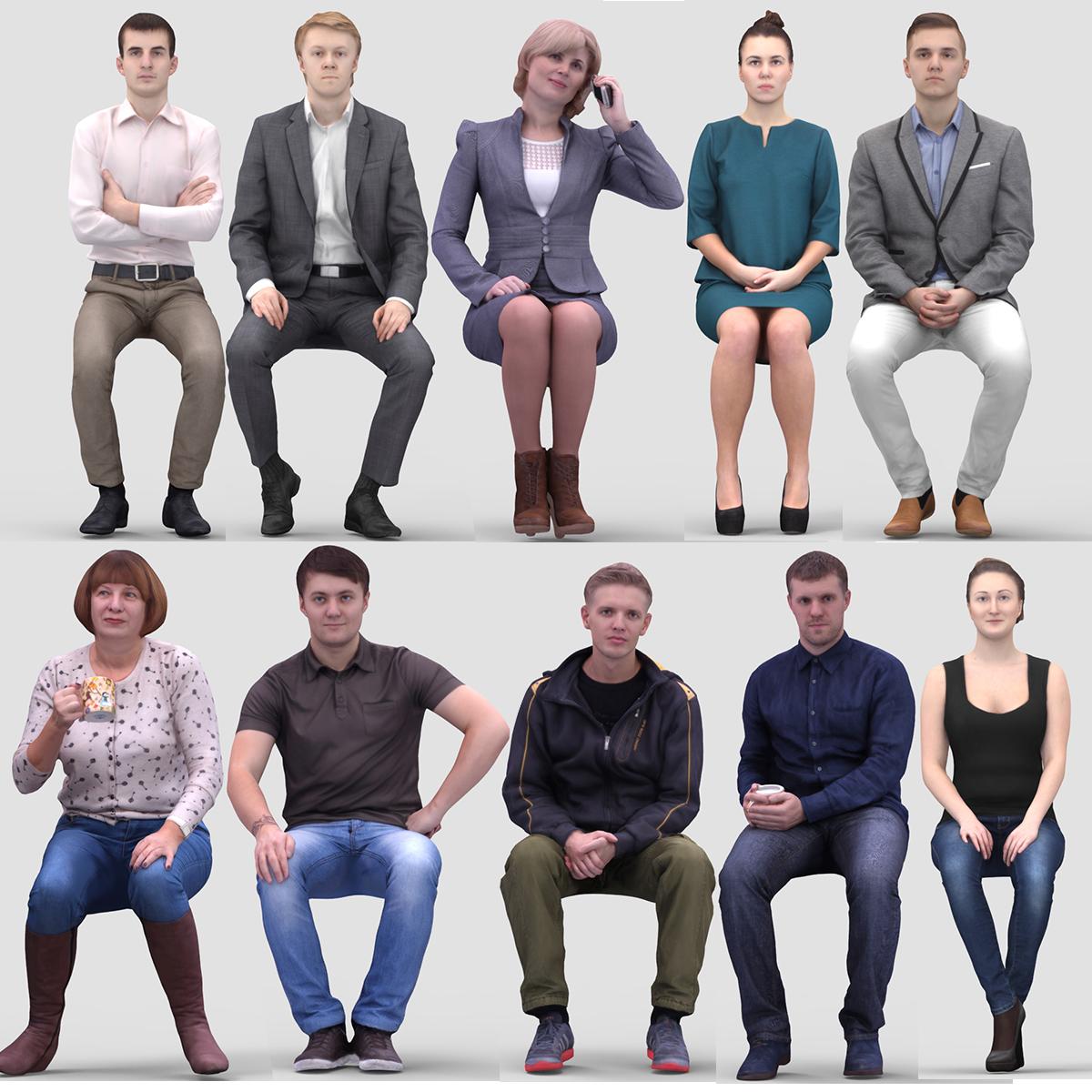 Foto Persone Sedute.Vol Umano Modello 3d 1 Persone Sedute