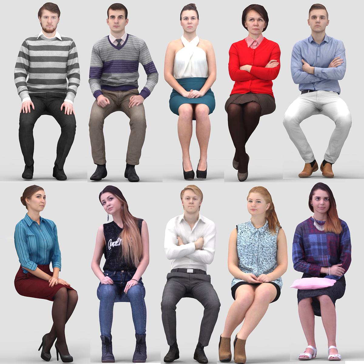 Foto Persone Sedute.Vol Umano Modello 3d 2 Persone Sedute
