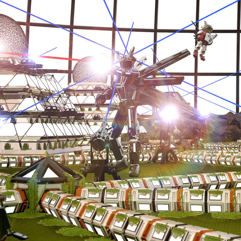3d model sci-fi city hd resolution