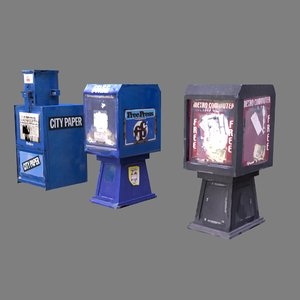 newspaper boxes 3d obj