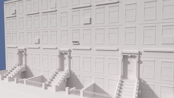 3d brownstone building