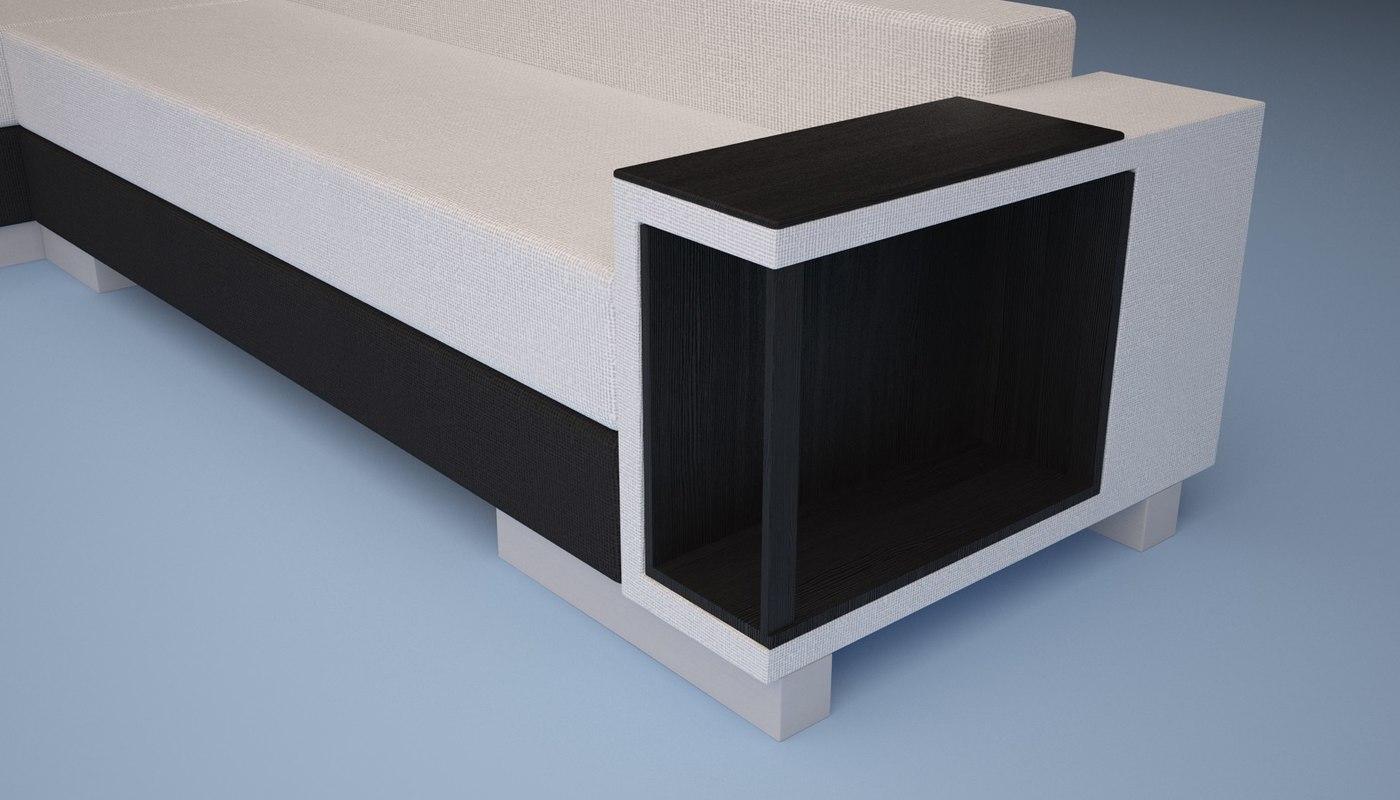 sofa black 3ds