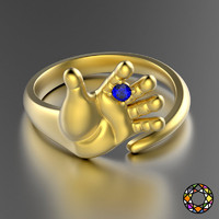 print hand shaped ring 3d obj