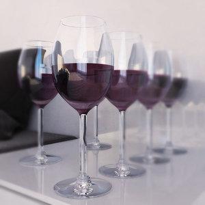 3d model glasses red wine
