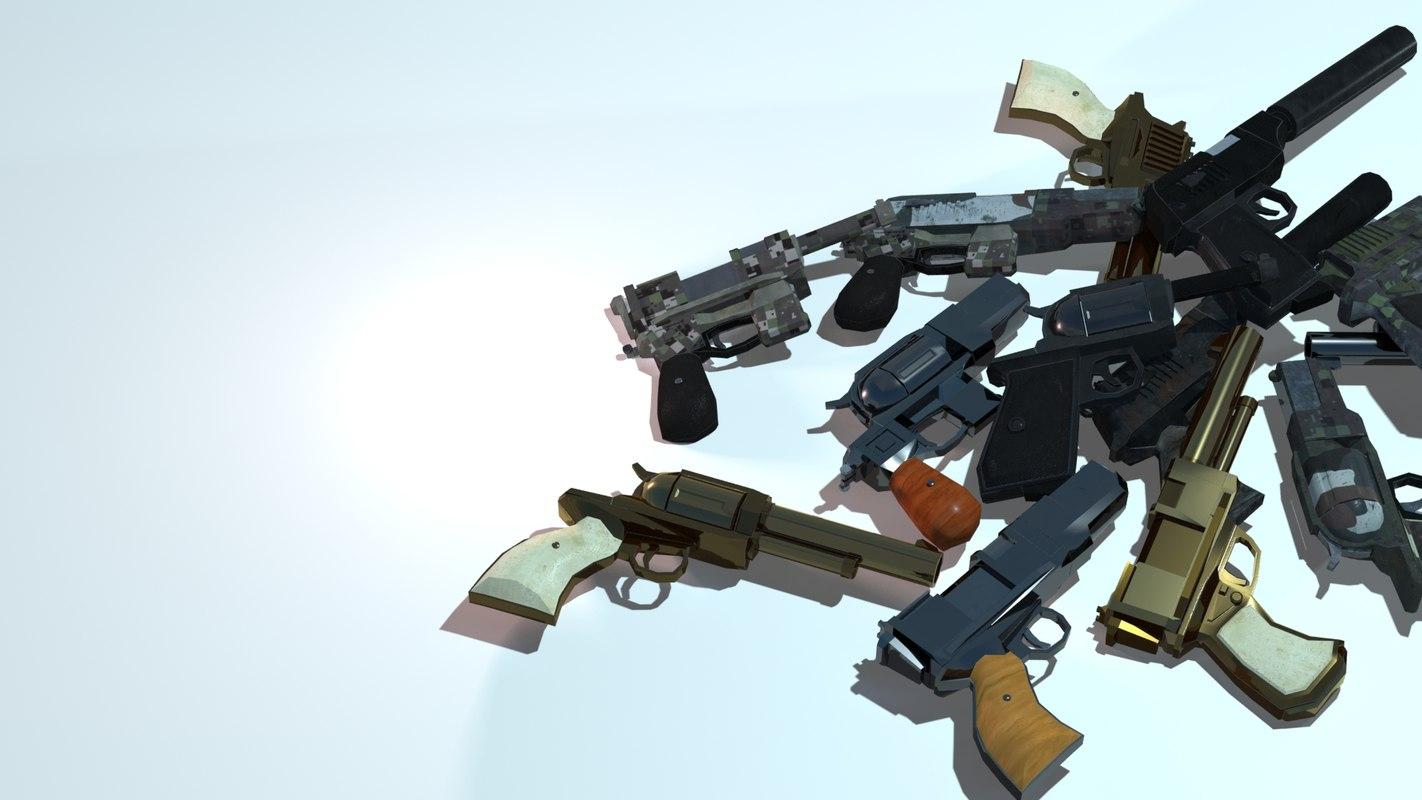 customizable handed guns polys 3d ma