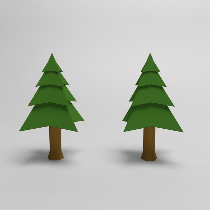 cartoon spruce tree model