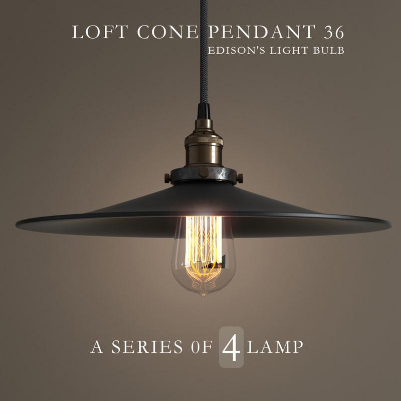 3d model chandeliers loft cone pendant
