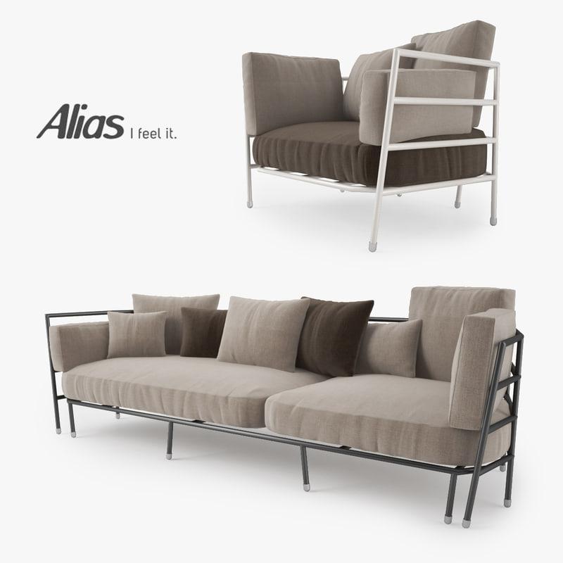 3d model alias dehors sofa armchair