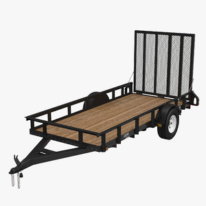 3d model open trailer