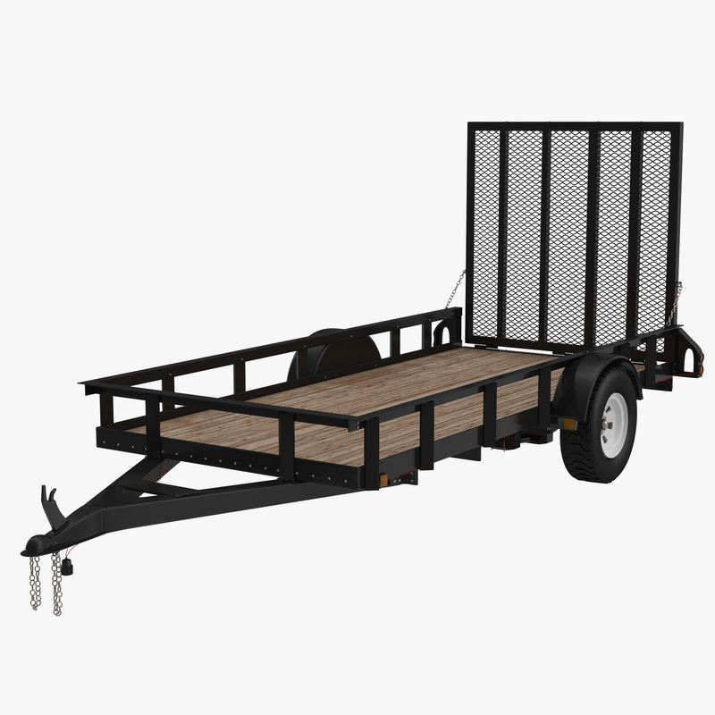 3d model open trailer generic