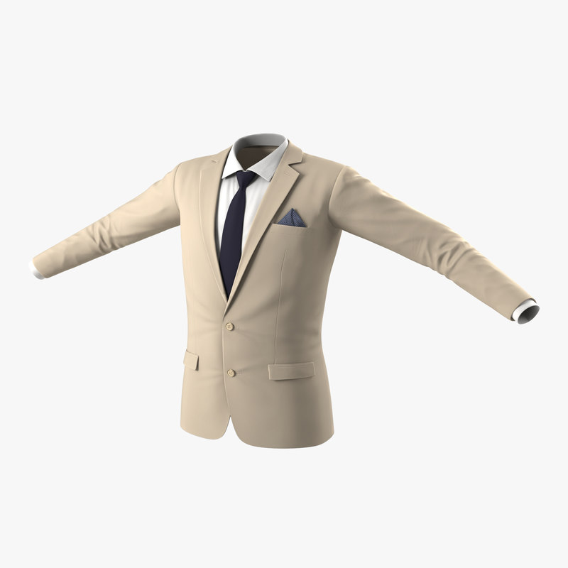 mens suit jacket 8 3d model