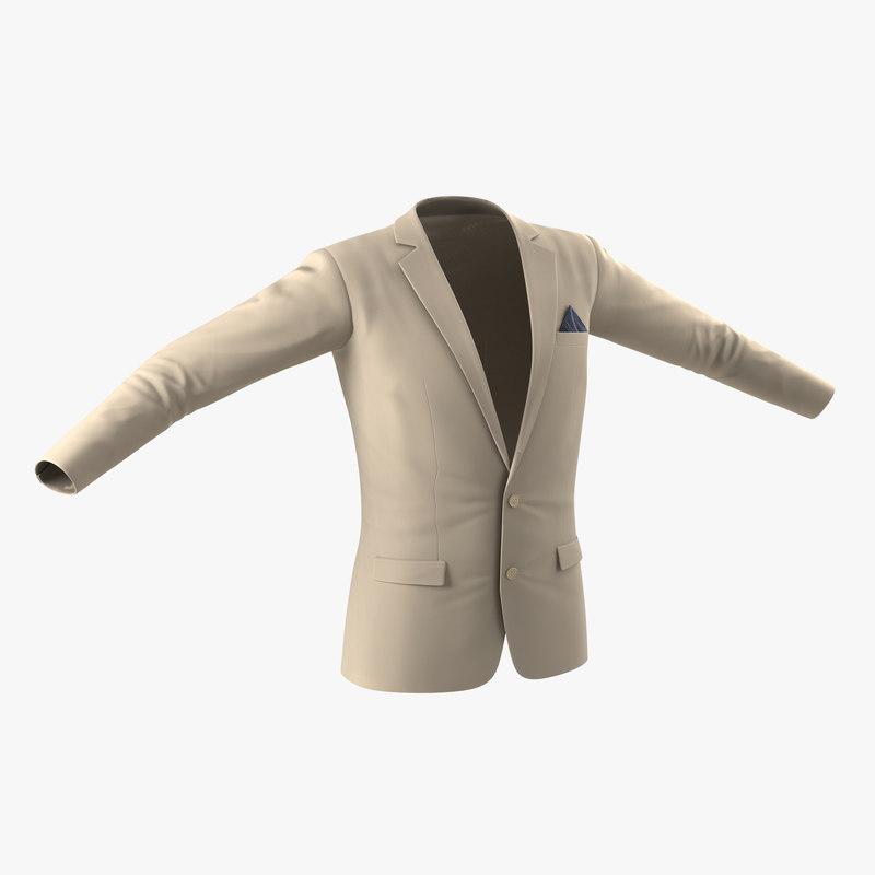 mens suit jacket 9 3d model