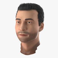 3d mediterranean male head hair model
