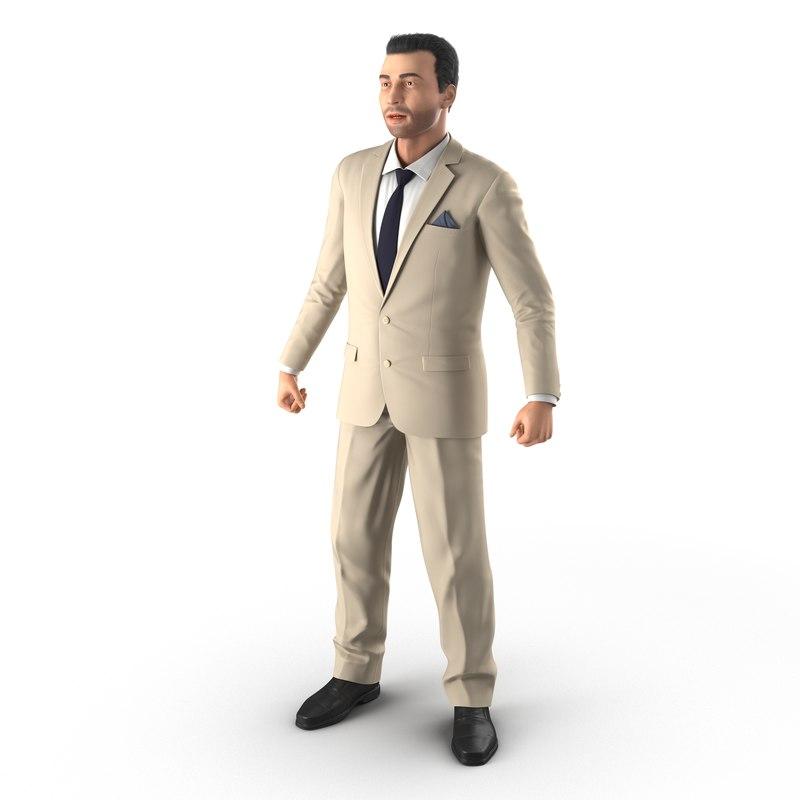 mediterranean businessman rigged modeled 3d model