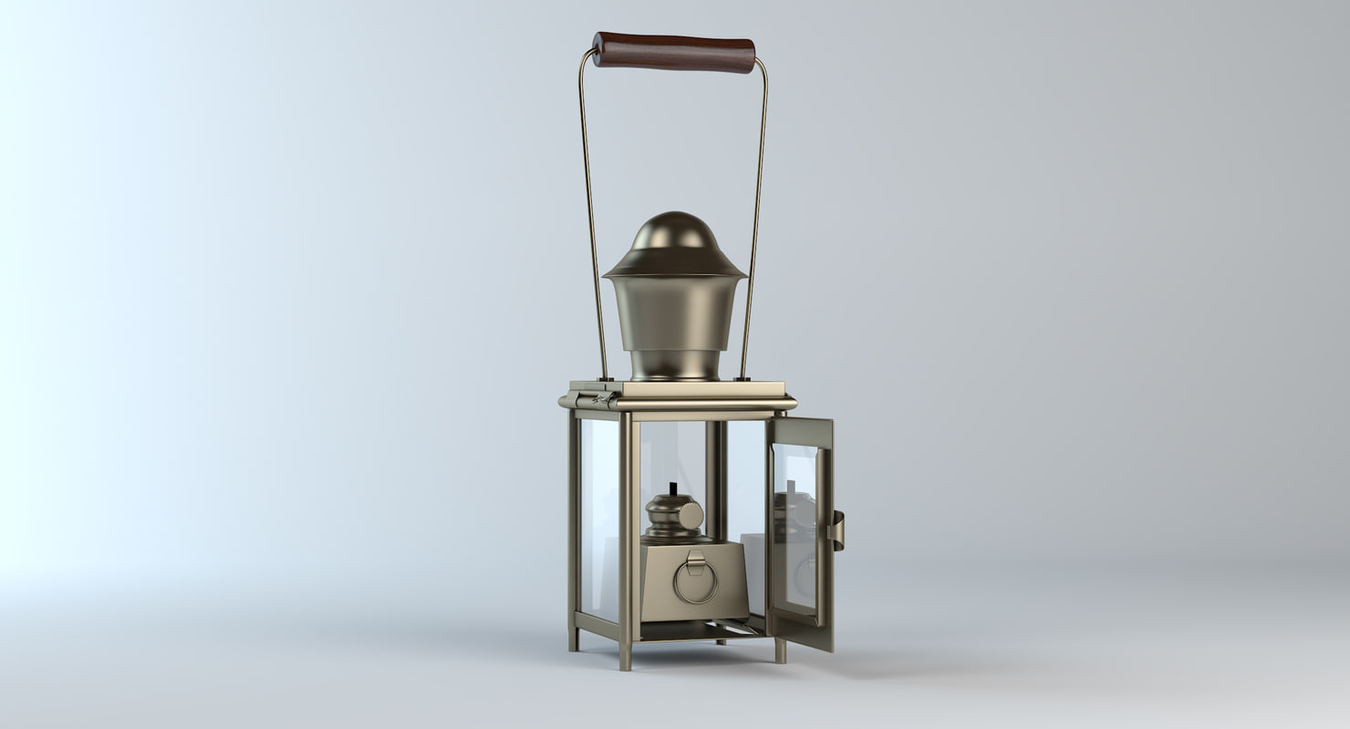 3d model old oil lamp