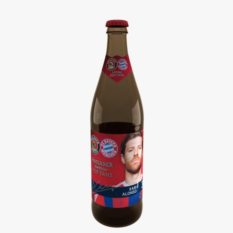 3d model paulaner weissbier beer bottle